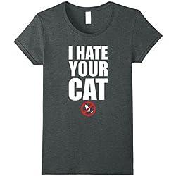 Womens Anti-Social Hate Cat T-Shirt XL Dark Heather