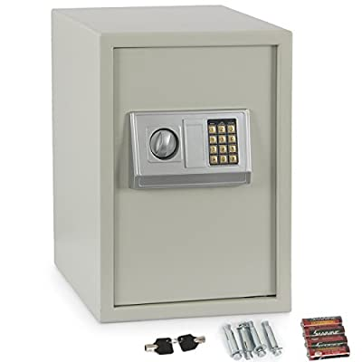 ARKSEN Large Digital Security Safe, LockBox, Cash, Keypad, Cream