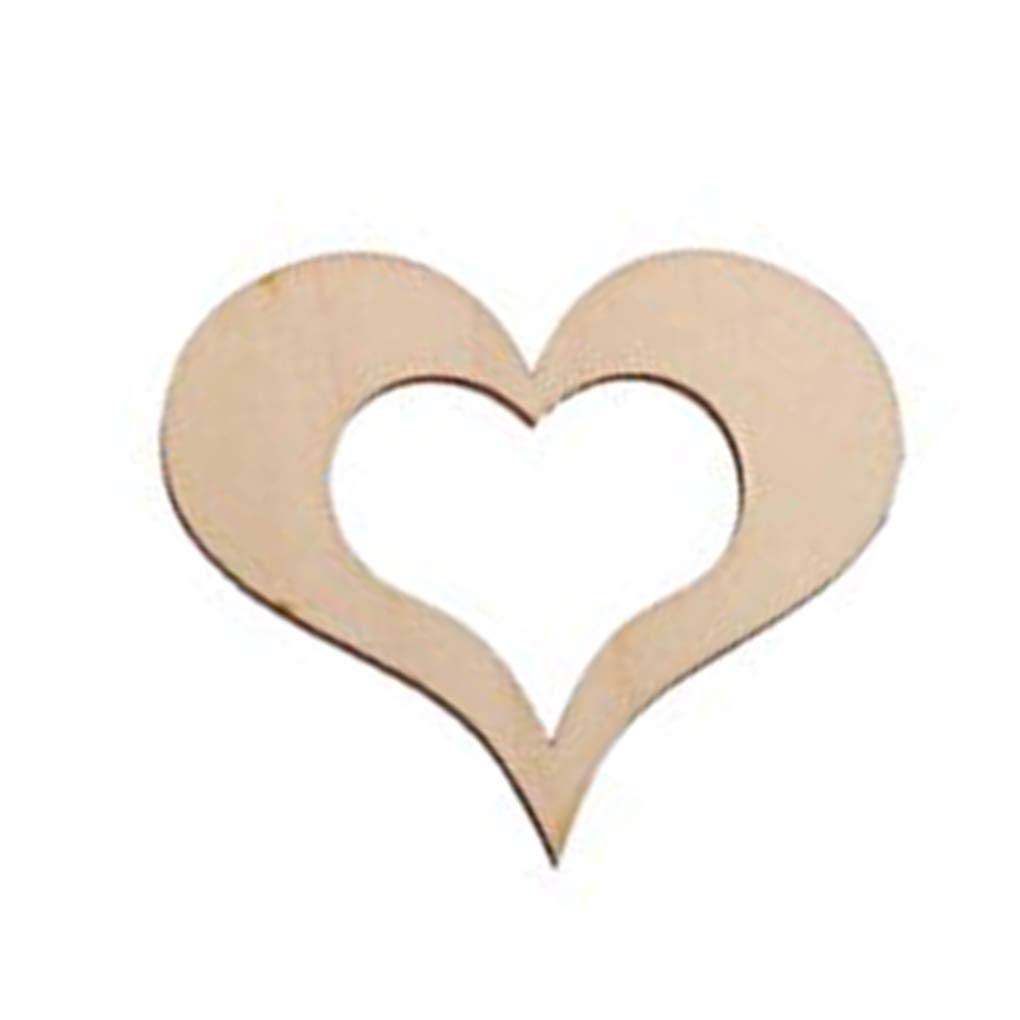 OmkuwlQ 100pcs Heart Shape Wooden Chip Wedding Photo Shooting Prop Decorations Eco-Friendly Ornament by OmkuwlQ (Image #6)