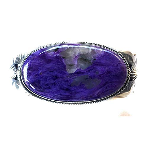 - Nizhoni Traders LLC Chimney Butte Navajo Charoite Sterling Silver Cuff Bracelet Signed and Stamped