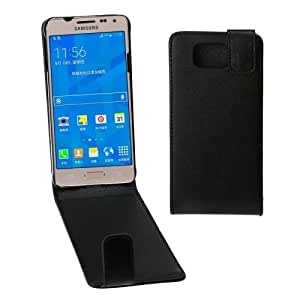 Vertical Flip Magnetic Snap Leather Case for Samsung Galaxy Alpha / G850F (Black)