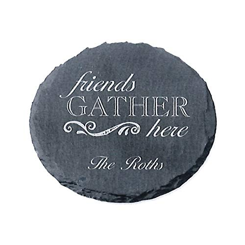 Custom Engraved Round Slate Coaster Set, 4 Pieces, Friends Gather Here, Personalized, One Line ()