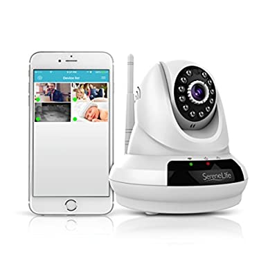 SereneLife IPCAMHD61 - Full Feature - 720p HD Wireless IP Cloud Camera with PTZ Pan and Tilt - Compatible with Apple/Android App and MAC/ PC Browser - Access Recordings with No Monthly Fees!