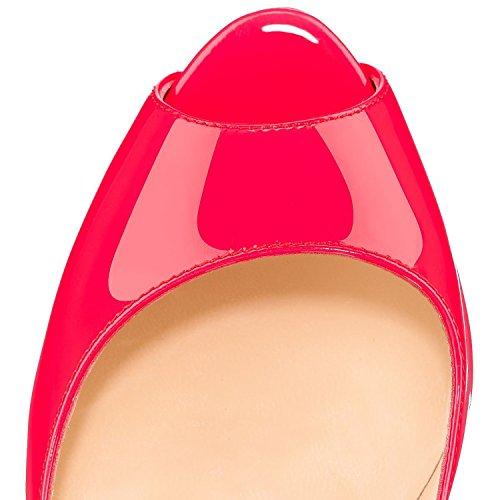 Arc-en-ciel bomba de charol zapatos de plataforma de las mujeres Rosa
