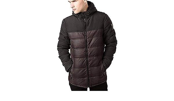 Threadbare Mens Worcester Designer Check Padded Coat Quilted Hooded Jacket