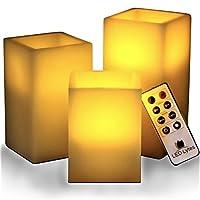Parpadeo de velas sin llama Operado a batería 3 CUADRADO Cera de marfil y ámbar amarillo Llama, temporizador de apagado automático Control remoto, velas falsas grandes alimentadas por batería por LED Lytes,