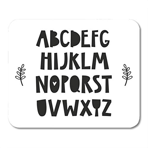 Emvency Mouse Pads Animal Black Nordic Alphabet for Baby Room The Wall Kids Interior Wear and White Nursery Avatar Mouse Pad 9.5
