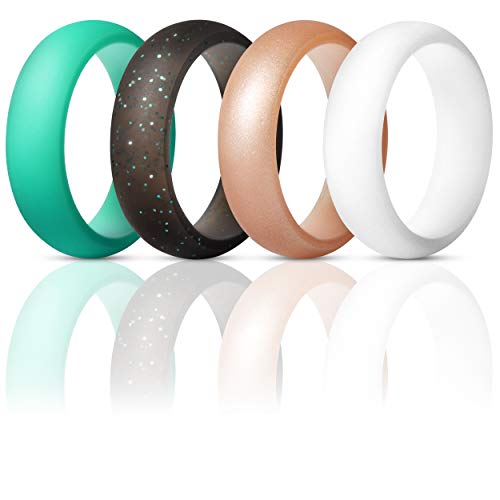 ThunderFit Silicone Rings Wedding Bands for Women 4 Pack (Rose Gold, White, Teal, Black with Teal Glitter, 5.5-6 (16.5mm)) ()