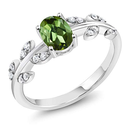 Gem Stone King 925 Sterling Silver 0.91 Ct Oval Green Tourmaline Solitaire Olive Vine Ring (Size 5)