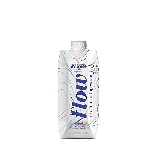 Flow Alkaline Spring Water, 100% Natural Alkaline Water, Eco-Friendly Packaging, Refreshing Taste, Boxed Mineral Water, Natural Electrolytes, Water with pH, Non-GMO, BPA-Free, Pack of 12 x 500ml