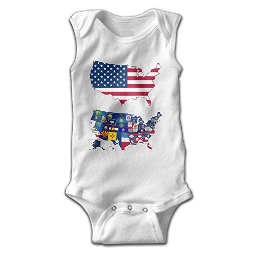Toddler Green Furry Jumpsuit (FSFUNNY Infant Sleeveless Onesies USA American State Flag Map Bodysuit For Baby Boy And Girl 100% Cotton Jumpsuit)