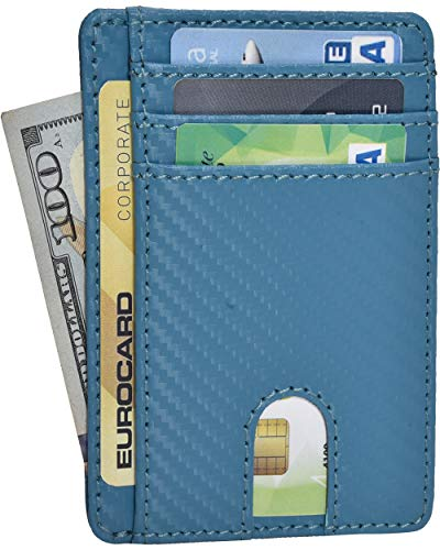 Heritage Case - RFID Leather Front Pocket Slim Wallets- Genuine Leather Minimalist Credit Card Holder By Clifton Heritage (02 Green Carbon Fibre)