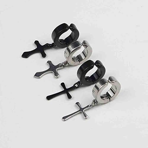 PETUNIA Vintage Dise/ño de Moda Cruzado Hombres Ganchos de Oreja de Metal Ear Stud Pendientes de Clip no Piercing Pendientes Falsos para Novio Amante Negro