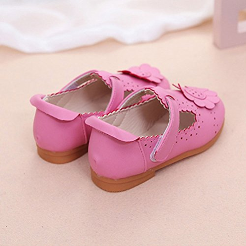 Zhhlaixing Baby Flower Shoes Toddler Casual Shoes Soft PU Leather Baby shoes Rose Red