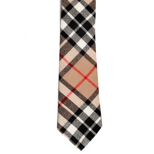 100% corbata de lana de cuadros escoceses - Camel Thomson: Amazon ...