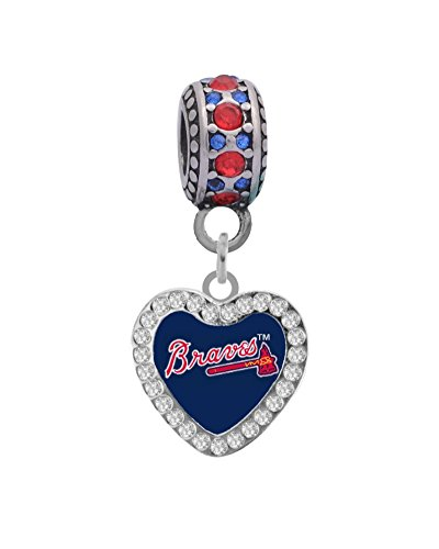 Atlanta Braves Crystal Heart Charm