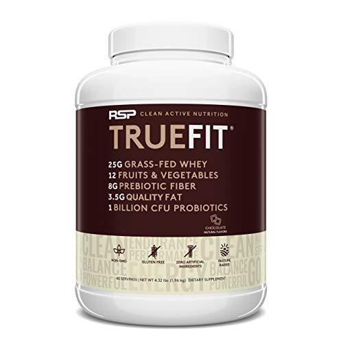 RSP TrueFit (4.32LB) - Grass Fed Lean Meal Replacement Protein Shake, Natural Whey Protein Powder with Fiber & Probiotics, Non-GMO, Gluten-Free & No Artificial Sweeteners, Choc (Packaging May Vary)