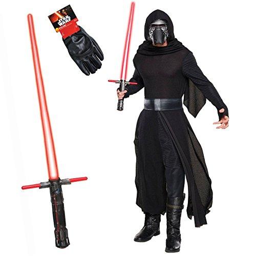 Kylo Ren Costume Mens (Star Wars The Force Awakens Kylo Ren Costume Bundle Set - Deluxe Adult Standard Costume, Gloves, and Lightsaber)