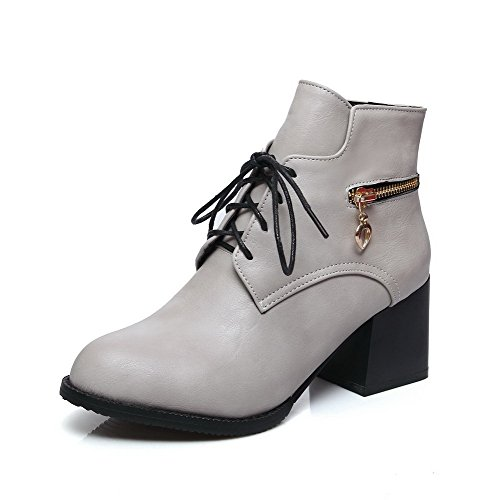 Toe Women's Lace Kitten Closed PU Heels Pointed Boots AgooLar Gray up Solid zdw6qTT