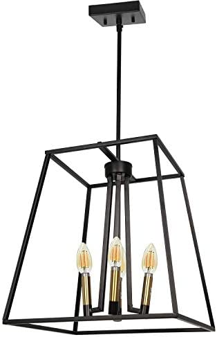 4-Light Square Pendant Light Fixture