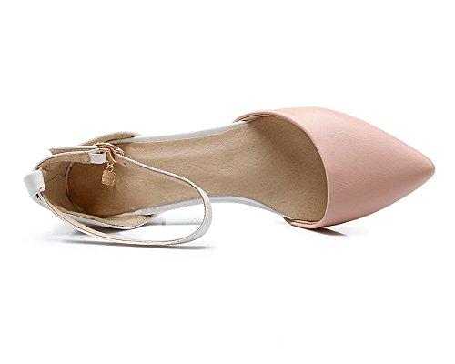 Sandales Correct Couleurs Talon D'orteil TSFLH006576 AalarDom Femme Fermeture à Rose Mélangées xqaBBp