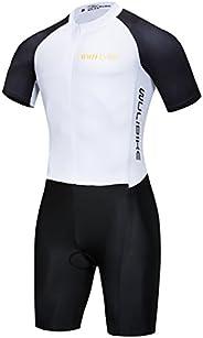 Logas Men's Triathlon Tri Suit Short Sleeve Quick Dry Skinsuit - Triathlon Race Suit with Extended Zippers