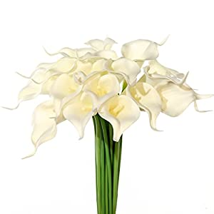 JUSTOYOU 20pcs Artificial Calla Lily Real Touch Latex Flower for Bride Wedding Home Decor(White)