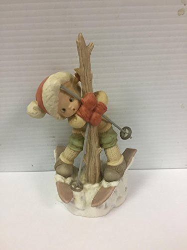 """Memories of Yesterday """"A Bit Tied Up Just Now But Cheerio!"""" Girl Skier Tangled in Tree Porcelain Figurine"""