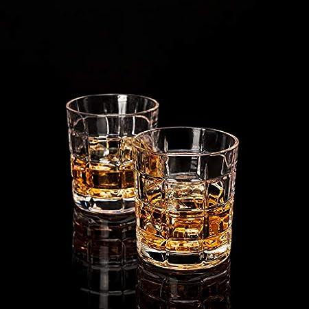 LANFULA Vaso de Whisky, Vasos de Whiskey Cristal Sin Plomo, 300 ml, Regalo fara Los Amantes Del Whisky, 4 Piezas