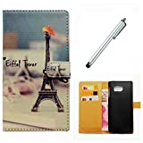 Samsung Galaxy S9 Case Wakso Flip PU Leather Wallet Case with Stand Function Cover Anti-Shock Protective Case - The Eiffel Tower