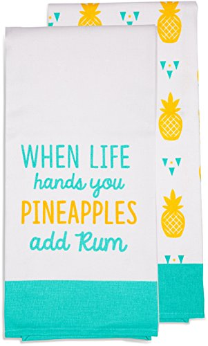 Pavilion Gift Company - When Life Hands You Pineapples Add Rum - Teal & Yellow Patterned Tea Towel Set of 2