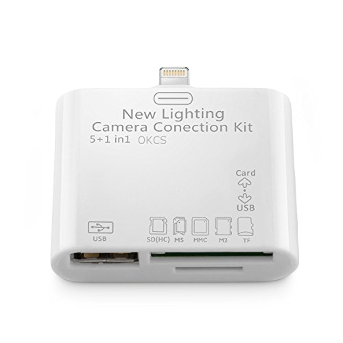 OKCS Camera Connection Kit Kartenleser Card Reader 5 in 1 Anschluss - Überträgt Bilder & Videos - Lightning für Apple iPhone 7, 7 Plus, iPad 4 / Mini / 5 Air, iPod Touch 5G / von OKCS®