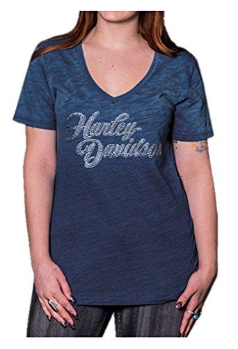 Harley-Davidson Women's Decked Out Embellished H-D V-Neck Tee, Denim Ombre (Embellished Denim Shirt)