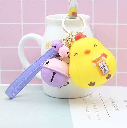(GIFTANY'S HOUSE Creative Cute 3-D Chicken Key Chain, Jingle Bell Key Chain, Car Key Ring, Bag Accessories (Yellow - Purple Strap, Pink & Purple Bells) )