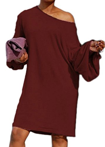 Sleeve Midi Hip Cromoncent Puff Fit Red Hop Loose Womens Dress Hipster Wine qwwISnUFO