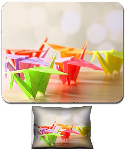 Luxlady Mouse Wrist Rest and Small Mousepad Set, 2pc Wrist Support design IMAGE: 27065441 Origami cranes on wooden table on light background