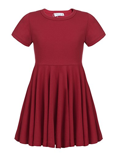 Arshiner Little Girls Short Sleeve A Line Casual Skater Dress,Red,120(Age for 6-7Y) (Red Dresses For Little Girls)