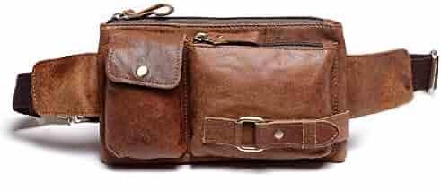 Teemzone Unisex Retro Leather Waist Backpack Phone Holder Fanny Sling Bag