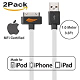 [Apple MFi Certified] 2Pack Yellowknife® 3.3ft/1m Noodle Flat 30Pin to USB Data Sync Charger Cable Charging Cord for Apple for iPhone 4s 4 3GS iPad 1 2 3 iPod Touch 4th iPod Nano 6th Gen (2Pack-White)