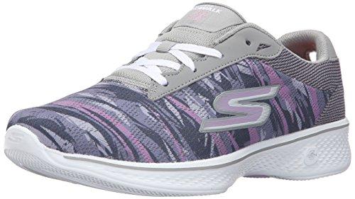Skechers Women's Go 4-14163 Walking Shoe, Black/White, 5.5 M US Gray/Purple
