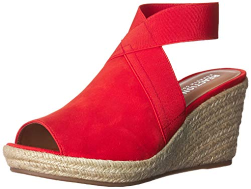 (Kenneth Cole REACTION Women's Carrie Espadrille Wedge Sandal, Red, 9 M US)