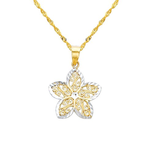 2 Tone Gold Polished Flower Charm Pendant with 1.2mm Singapore Chain Necklace - 22