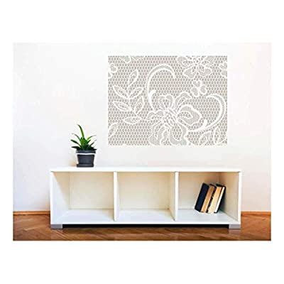 Dazzling Craft, Removable Wall Sticker Wall Mural Lace Style Seamless Pattern Creative Window View Wall Decor, Made With Love