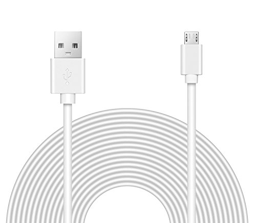 OMNIHIL Replacement (32FT) 2.0 High Speed USB Cable for LENRUE Portable Wireless Bluetooth Speaker with Built-in-Mic,Handsfree Call,AUX Line,TF Card for Iphone Ipad Android Smartphone and More - WHITE by OMNIHIL