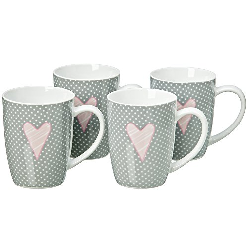 Romantic Dots and Heart Mugs, Set of 4, Porcelain, Rustic Gray, White and Pink, Each Holds Approximately 8 Fluid Ounces, 4 Inches Tall