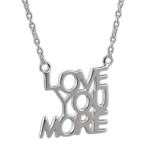 Love You More Necklace - 925 Sterling Silver - Cable Chain Adjustable 16-18inch - Jewelry Accessories Key Chain Bracelets Crafting Bracelet Necklace Pendants