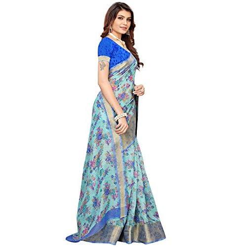 41Lhr 5eMRL. SS500  - Akhilam Women's Printed Linen Saree with Unstitched Blouse Piece (Green_BGBLT80005)