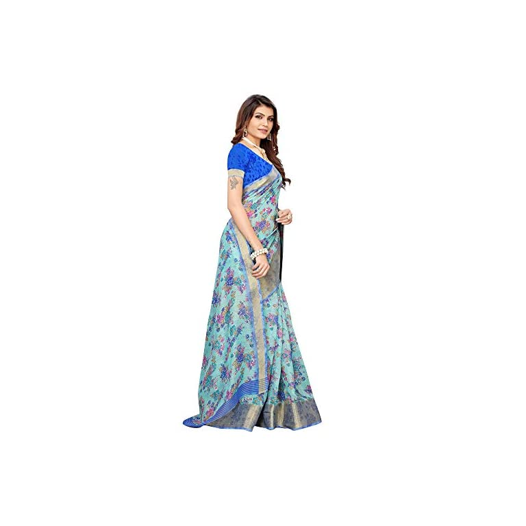 41Lhr 5eMRL. SS768  - AKHILAM Women's Linen Saree With Unstitched Blouse (BGBLT80005 Sarees_Green)