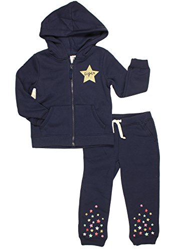 Carter's Little Girls' Fleece Hoodie and Pants 2-Piece Set (Super Star Navy, 4T)
