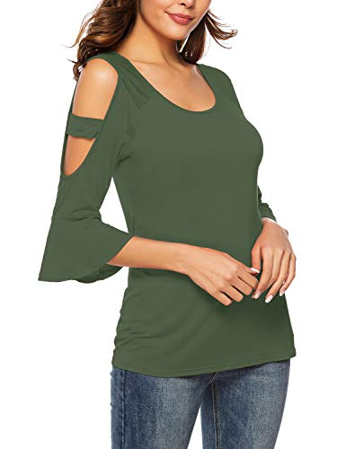Florboom Womens Blank Round Neck Three Quarter Sleeve T Shirt Olive Green 2XL